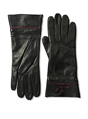 Portolano Women's Leather Gloves with Contrast Bow (Black/Cabernet)