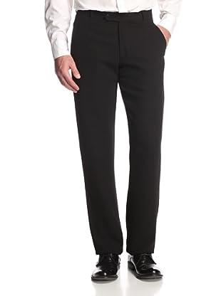 Armani Collezioni Men's Flat-Front Pants (Solid Black)