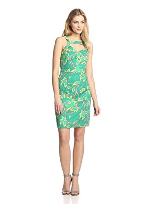 Muse Women's Cut Out Front Fitted Sheath (Green Multi)