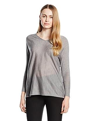 Capital B Wollpullover Capital B Batwing V-Neck Sweater Grey Melange 2Xl