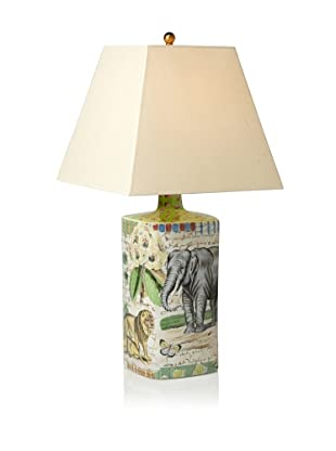 John Derian Elephant Hand-Painted Porcelain Lamp, Multi