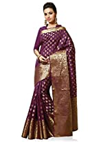 Meghdoot Artificial Silk Saree (VIVAAH_MT1312_WINE Woven Purple Colour Sari)