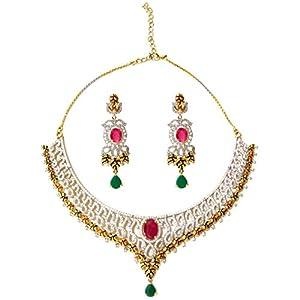 Daamak Jewellery Enamel Necklace With Cubic Zircon