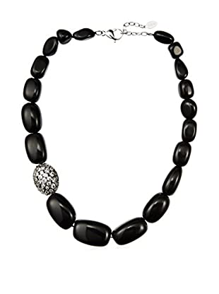 CZ by Kenneth Jay Lane Natural Onyx/CZ Graduated Necklace