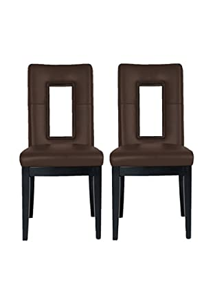 Star International Set of 2 Portico Dining Chairs, Dark Brown/Dark Walnut