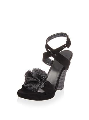 Stuart Weitzman Women's Belflor Wedge Sandal (Black nubuck)
