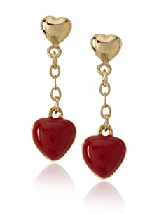 Frida Girl Red Enamel Hanging Heart Earrings