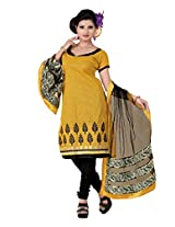 FadAttire Embroidered Chandheri Suit-Yellow-ACSA04