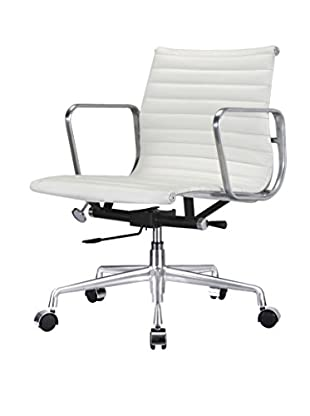 Meelano Office Chair In Italian Leather, White
