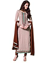 Cream Colour Faux Cotton Semi Party Wear Patch Embroidery & Geometric Printed Churidar Suit 803