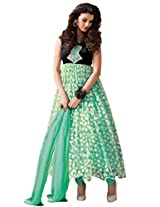 Suchi Fashion Turquoise and Black Net and Velvet Brasso Self Print Semi Stitched Party Wear Anarkali Suit