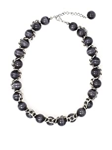 Tuleste Market Woven Marble Necklace, Antique Silver/Charcoal