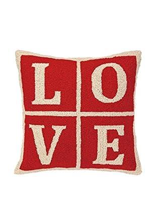 Peking Handicraft Love Christmas Blocks Throw Pillow, Red