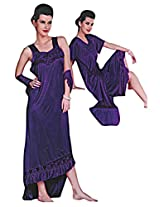 Indiatrendzs Purple 2pc Set Honeymoon Nightwear Babydoll Night Dress
