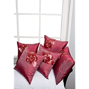 Dekor World Rose Flower Cushion Cover Set Of 5 Pcs