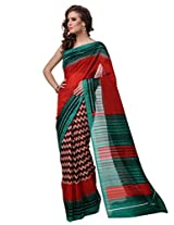 Riti Riwaz Red Bhagalpuri Silk Casual Saree with Unstitched Blouse NRP6004