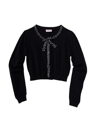 Monnalisa Girl's Dot Trim Cardigan (Black)