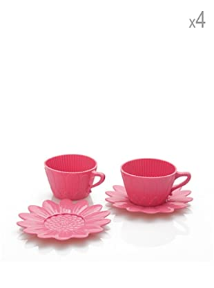 Pavoni Set 4 Tazas Y Platos Para Cupcakes Rosa