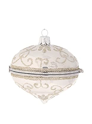 Raz Silver Glittered Kismet Box Ornament II