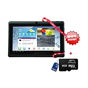 "Ambrane D-77 Ultra Slim 7"" Tablet with 8GB Micro SD Card"