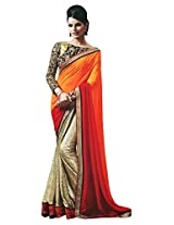 Faux Georgette Orange & Golden Colour Saree for Party Wear