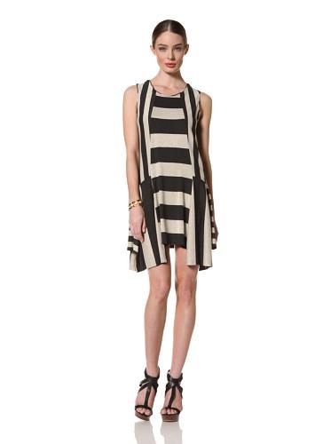 Anna Sui Women's Mixed Jersey Stripe Dress (Charcoal/Oatmeal)