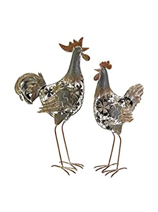 Hinslow Metal Hen and Rooster Set