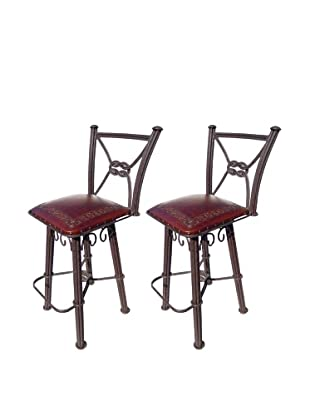 New World Trading Classic Western Iron Counter Stool With Back, Antique Brown