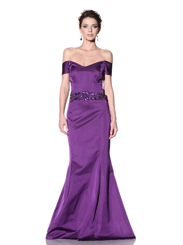 Badgley Mischka Women's Off-the-Shoulder Gown with Jeweled Waistband (Purple)