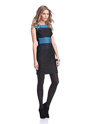 Julia Jordan Women's Herve Pintuck Colorblock Dress (Teal/Navy/Black)