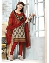 Saara Beige And Red Printed Dress Material - 144D4035