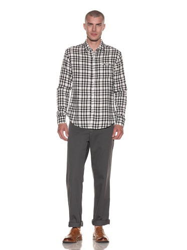 Riviera Club Men's Loreta Plaid Button-Front Shirt (Bold Plaid Black)