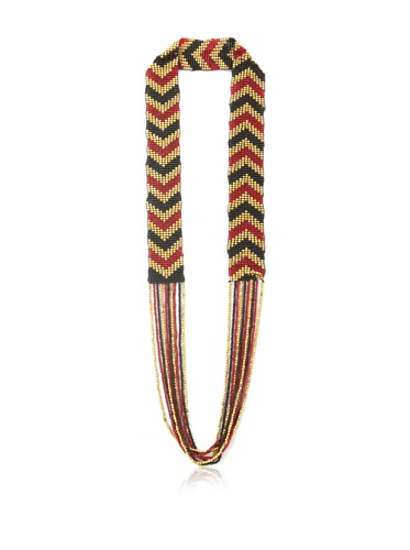 La Croix Rousse Beaded Chevron Necklace, Gold/Red