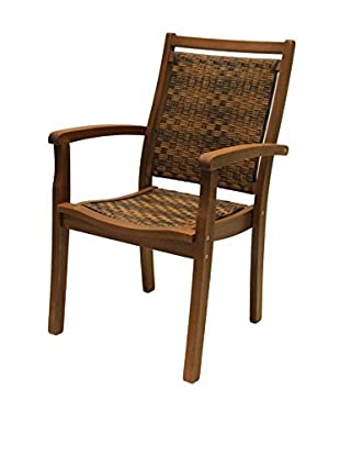 Outdoor Interiors Eucalyptus & Wicker Stacking Arm Chair, Brown