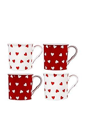 Home Essentials Set of 4 Red & White Hearts 10-Oz. Mugs