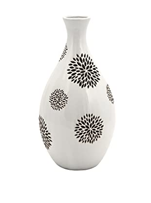 Essentials Vase with Flower Pattern, White/Black