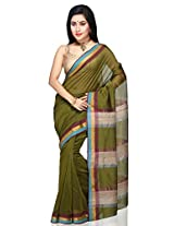 Olive Green Pure Chanderi Silk And Cotton Saree With Blouse