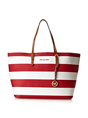 MICHAEL Michael Kors Women's Striped Saffiano Travel Tote, Red/White