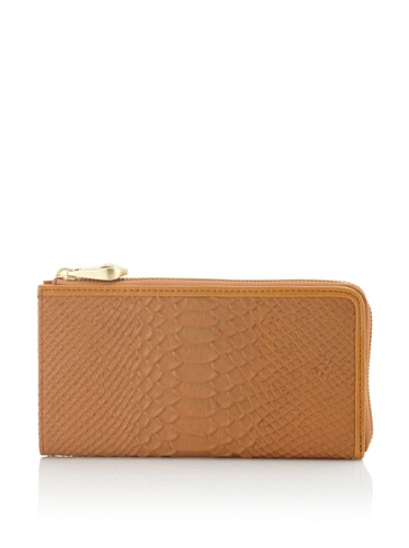 Pour La Victoire Women's Roma Snake-Embossed Zip-Around Wallet (Cognac)