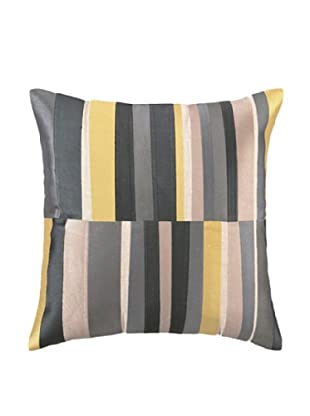 Trina Turk Watercolor Stripe Embroidery Linen Pillow (Grey)