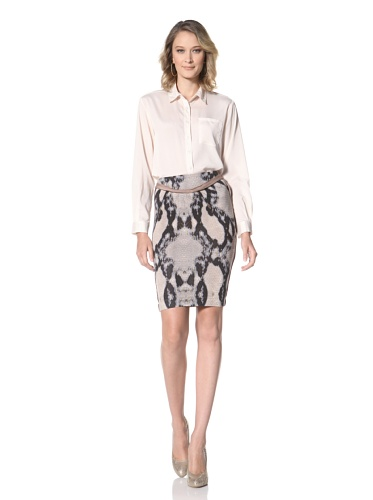 Just Cavalli Women's Brown Snake Print Skirt (Brown Snake Print)