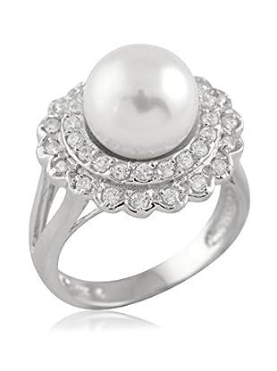 Majestik 10mm White Pearl & CZ Double Halo Ring