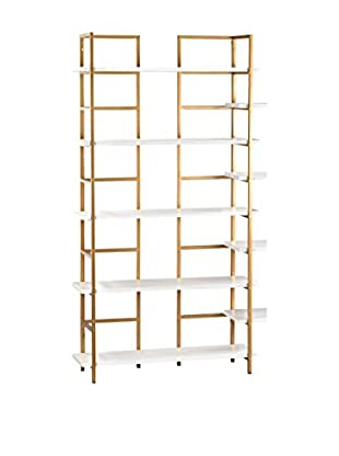 Artistic Upscale Luxe Shelving Unit, Gloss White/Gold