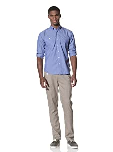 SLDVR Men's Walnut Button-Front Shirt (Blue)