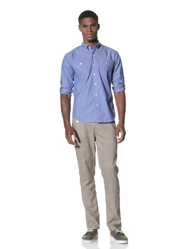 SLDVR Men's Walnut Button-Front Shirt (Blue)
