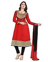 Khushali Women's Semi-Cotton Unstitched Anarkali Salwar Suit Dress Material(Red)