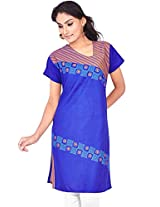Rucchi By Praveen Women's Cotton Blue Kurti