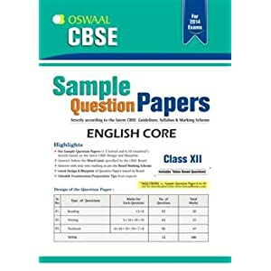 Oswaal CBSE Sample Question Papers: English Core for Class 12