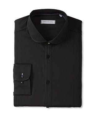 Without Prejudice Men's Solid Woven Shirt (Black)