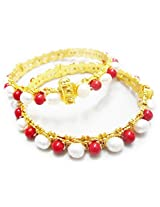 Trendy Souk- Behtan -Single Line Real Freshwater Hyderabadi Pearl AAA Quality with Ruby Red Beads Bangles (Set Of 2)
